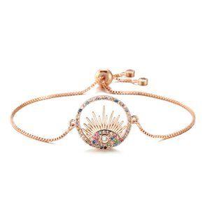 Rose Gold Round Evil Eye Third Eye Boho Bracelet